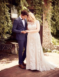 Liesl Lynette Wedding Dress Rebecca Ingram | tulle fit-and-flare lace wedding dress
